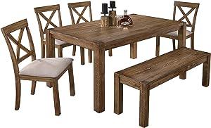 Best Master Furniture Janet 6 Pcs Transitional Dining Set, Driftwood