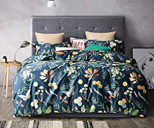 UFO Home 100% Cotton Sateen, 3pc Duvet Cover Set, Dark Green Back Background Color, Printing Colorful Floral Squirrel, No Inside Comforter (Full, LinLang)