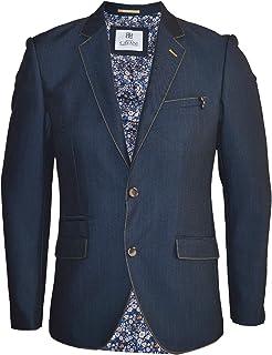 Cavani Men's Blue Indigo Denim Blazer Smart Formal Slim Fit Dinner Jacket