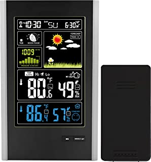 Think Gizmos Wireless Weather Station with Indoor/Outdoor Wireless Sensor and USB Charge Port – TG646 Weather Station Clock with Color Icons for Forecasting/Temperature with Alerts/Humidity
