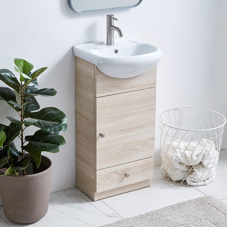 Amazon Com Wenore Home Modern Bathroom Vanity Set 18 Small Bathroom Vanity Bath Vanity With Sink Single Bathroom Vanity Cabinet With Ceramic Sink Bathroom Vanity And Sink Combo 1 Door 1 Drawer Gray Wood Grain Tools