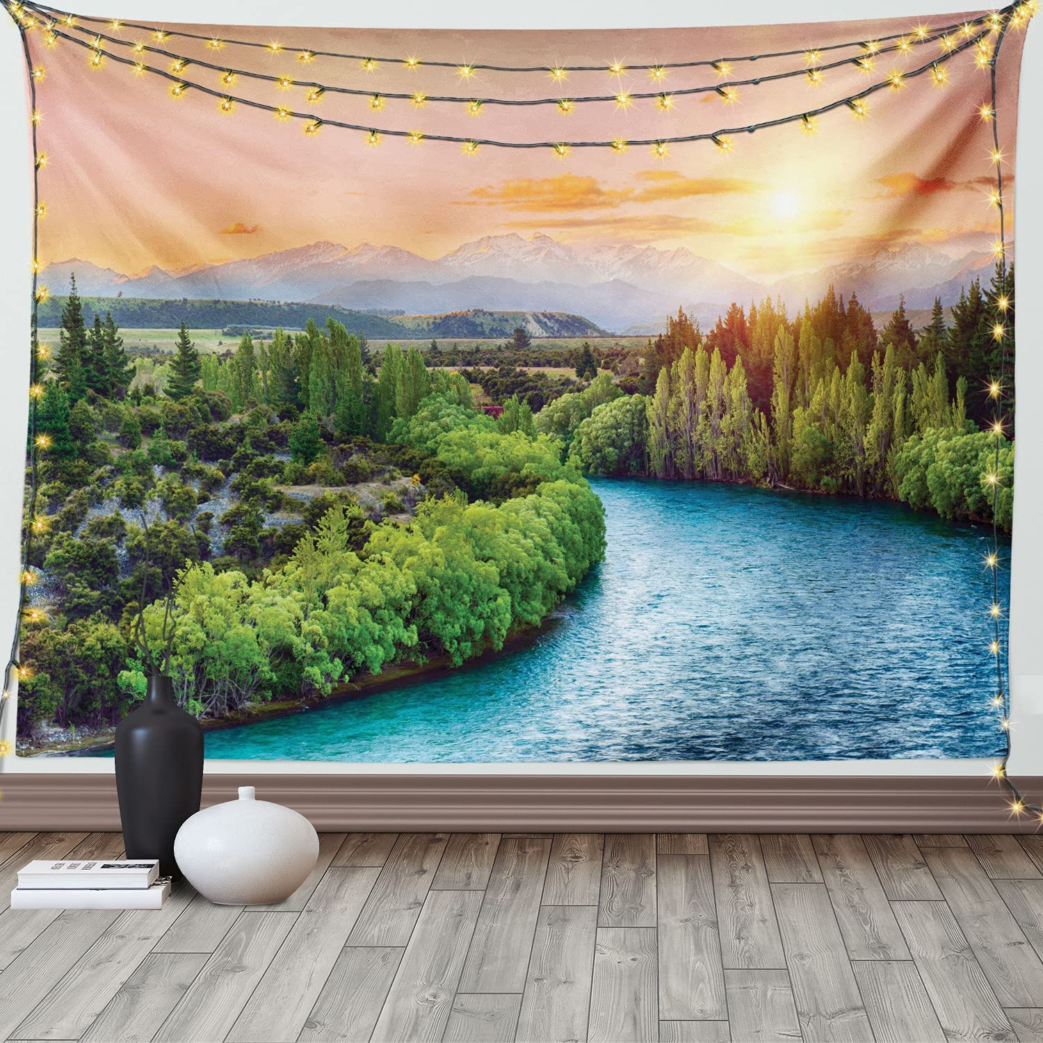 Ambesonne Eastern Tapestry, Sunset Over Bend of The River Clutha Alps Peaks on Horizon New Zealand Panoramic Scenic Art Print, Wide Wall Hanging for Bedroom Living Room Dorm, 60