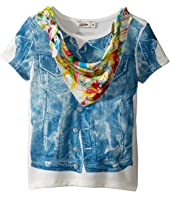 Junior Gaultier - Top with Denim Vest Print and Floral Bandana (Toddler/Little Kids)