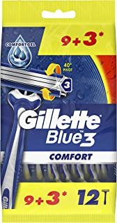Gillette Blue3 Comfort Disposable Men's Razors, 9+3 Count