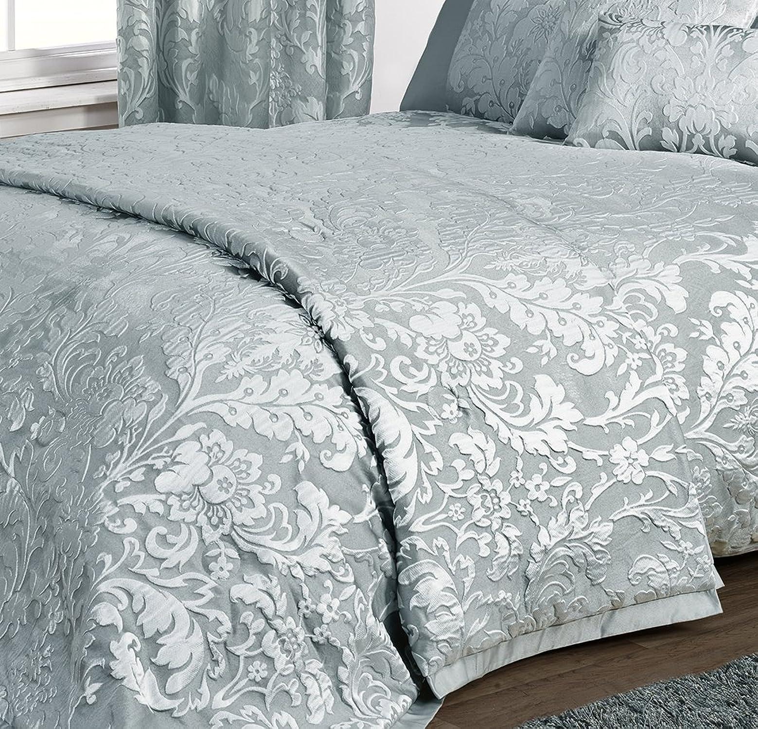 K Living Parure de lit de luxe Charleston bleu canard bleu jacquard (housse de couette, couvre-lit, housse de coussin boudoir, rideaux et autres articles disponibles, vendu séparéHommest), bleu canard, Double Bed Bedspread