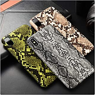 Snake Skin PU Leather Cover for iPhone 6 6s Plus 7 7Plus 8 8Plus X XR XS Max Phone Case Crocodile Texture Soft Coque Fundas (Snake Green,iPhone Xs Max)