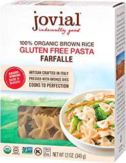 Jovial Farfalle Gluten-Free Pasta | Whole Grain Brown Rice Farfalle Pasta | Non-GMO | Lower Carb | Kosher | USDA Certified...