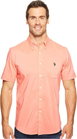 Short Sleeve Single Pocket Slim Fit Solid Sport Shirt