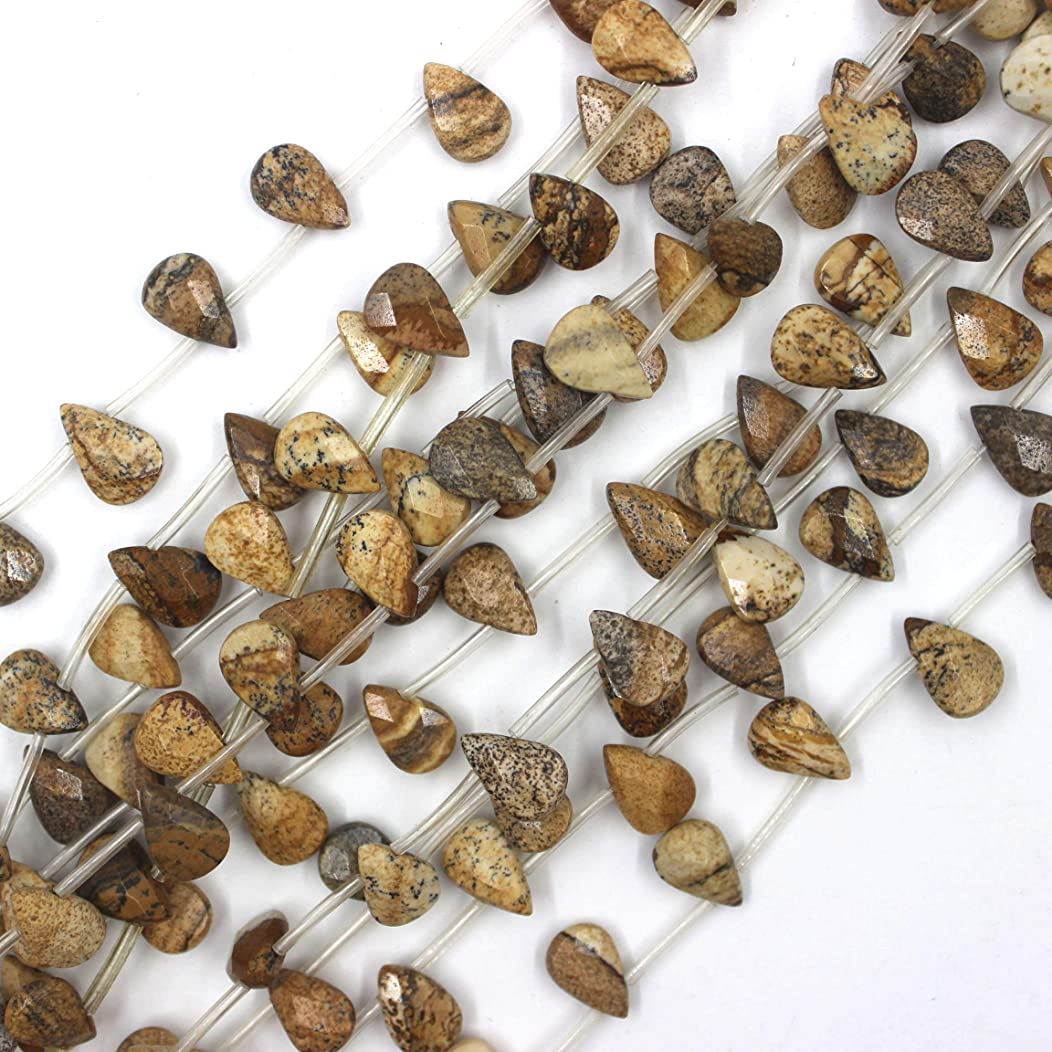 8x12mm Faceted Teardrop Picture Jasper Beads Loose Gemstone Beads for Jewelry Making Strand 15 Inch (18pcs)