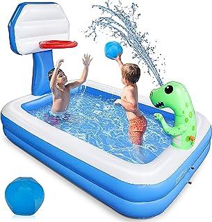 "Growsly Inflatable Pool - 81"" X 55"" Kiddie Pool with Basketball Hoop and Dinosaur Sprinkler for Kids Swimming Pool, Summer..."