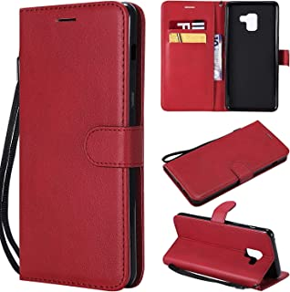 UDIKEFO Samsung A8 Plus Case, Galaxy A8 Plus Case, Solid Colored Premium PU Leather Wallet Flip Phone Protective Cases Cover with Card Slots for Samsung Galaxy A8 Plus / A8+ 2018 A730F- Red