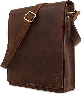 LEABAGS London Leder-Umhängetasche I Laptoptasche bis 13 Zoll I Messenger Bag aus echtem Büffel-Leder im Vintage Look I Schultertasche I Arbeitstasche I 26x8x31cm