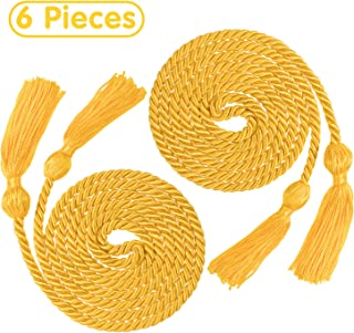 Whaline 6Pcs Graduation Honor Cords, Gold Rayon Braided Honor Cords with Tassels for Grad Days and Graduates Photography