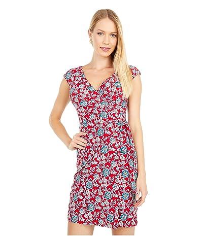 LAUREN Ralph Lauren Petite Saida Cap Sleeve Day Dress (Red/Blue/Multi) Women