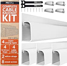 J Channel Cable Raceway Kit - Computer Desk Cable Management System - 4x16'' White Under Table Cable Management Trays for Office and Home