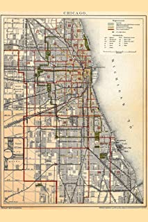 City of Chicago Illinois Historic Antique Style Map Cool Huge Large Giant Poster Art 36x54