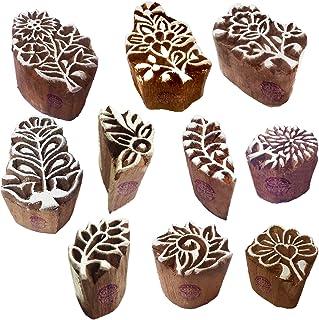 طوابع خشبية من الحناء التقليدية من كتل الطباعة بنمط الزهور الصغيرة (مجموعة من 10)