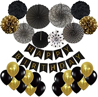 Cocodeko Pancartas de Banderines de Happy Birthday con Pom Poms y Ventilador de Papel Bola de la Flor y 20 Piezas Globos de Fiesta para Decoración de Fiesta - Negro