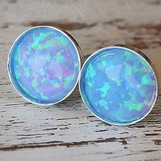 Orecchini a bottone opale Orecchini a bottone minimalista opale in argento sterling rotondo 6 mm