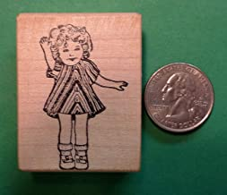 Dimples, Shirley Temple Doll, Wood Mounted Rubber Stamp - Rubber Stamp Wood Carving Blocks