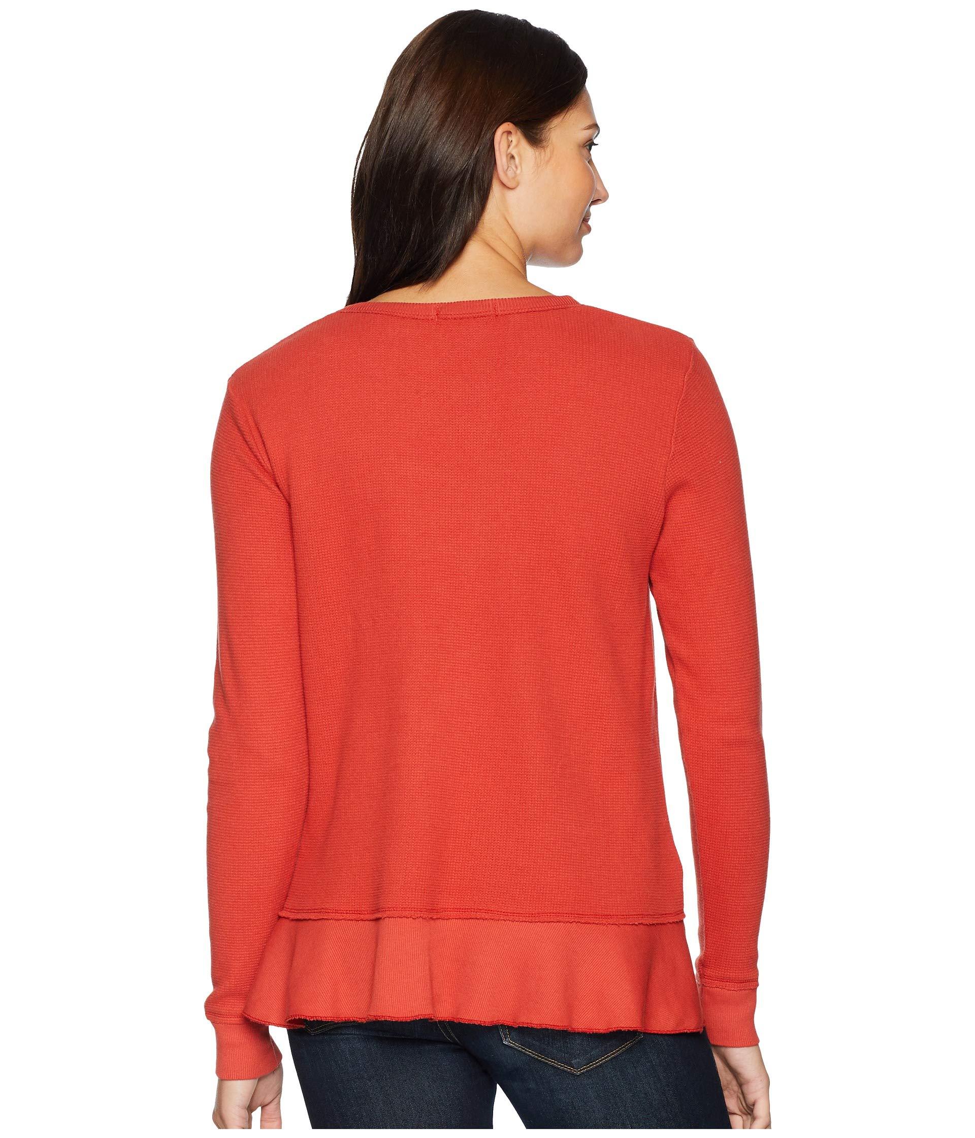 Hem Sleeve o Bonfire Mod Sweatshirt Long With Thermal Flatback Flounce Tee doc vfvXAwO