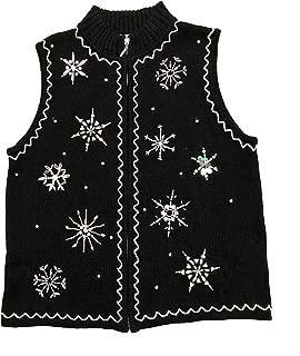Women's Ugly Christmas Sweater Vest Knit Large Black