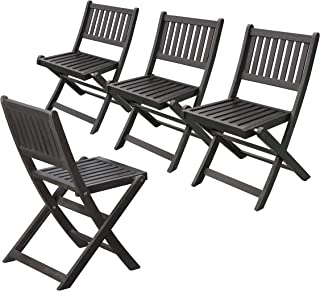 Merry Garden Eucalyptus Folding Chairs (Set of 4), Espresso Stain