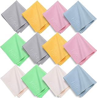 Hifot toallitas limpia gafas 12 piezas, Paños de Microfibra para Limpiar para la Limpieza de los Lentes, gafas, Tabletas, Telefonos, cristales, pantalla - 5.7