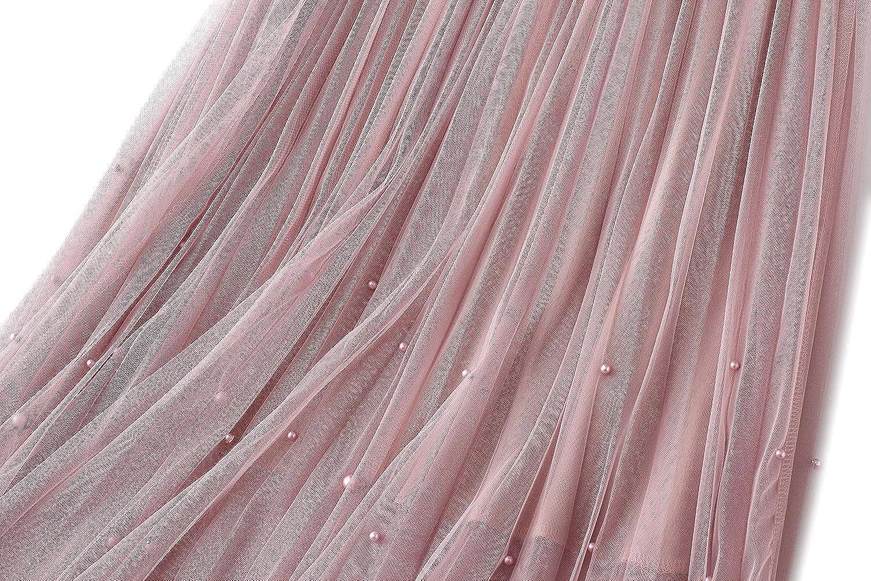 Women's Tulle Skirt Maxi Long A Line High Waist Layered Skirt Floral Pleated Mesh Midi Skirt