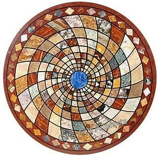 Table de salle à manger en marbre marron Pietra Dura Art - Dessus de table avec motif géométrique