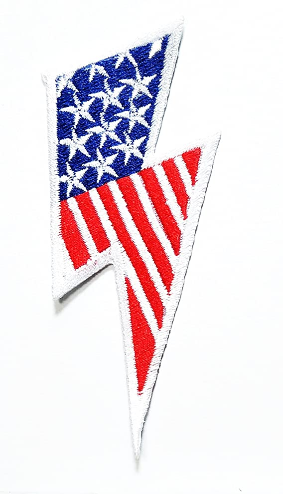 HHO Lightning bolt American Flag retro Patch Embroidered DIY Patches, Cute Applique Sew Iron on Kids Craft Patch for Bags Jackets Jeans Clothes fnmzgkwfj8056