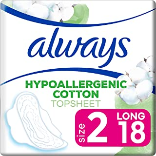 Always Pure Cotton Protection Ultra Thin Long Sanitary Pads with Wings, 18 count