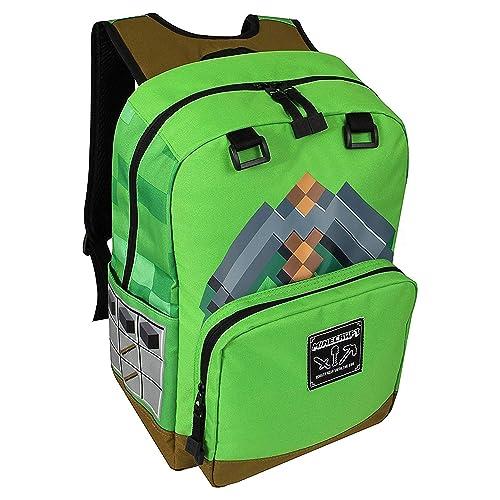 b42acb1c8f JINX Minecraft Pickaxe Adventure Kids Backpack (Green