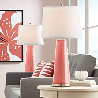 Leo Modern Table Lamps Set of 2 Coral Reef Glass Tapered Column White Drum Shade for Living Room Family Bedroom Bedside - Color + Plus