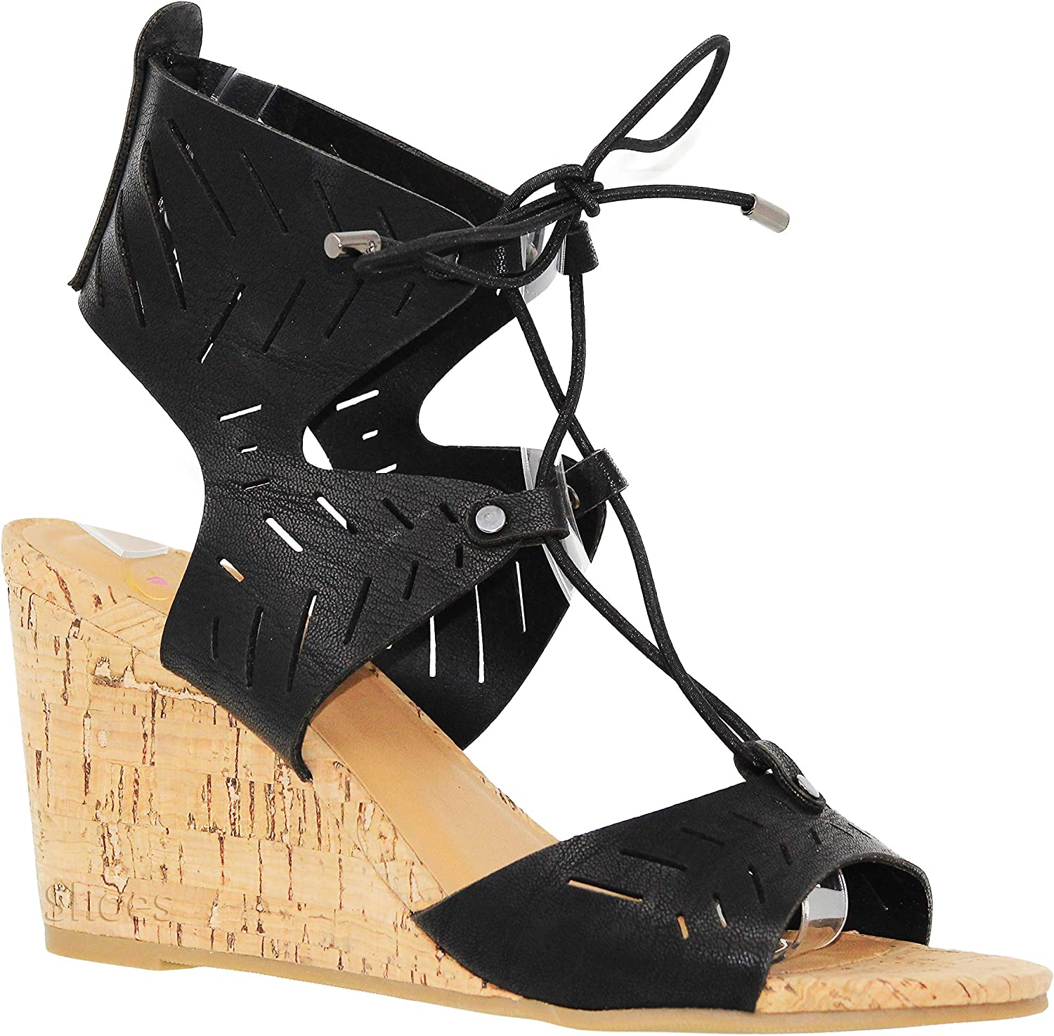 MVE shoes Women's Casual Peep Toe Mid Heel Wedges - Cute Open Ankle Lace up Sandals - Fashion Design Cutout Wedges-Sandals