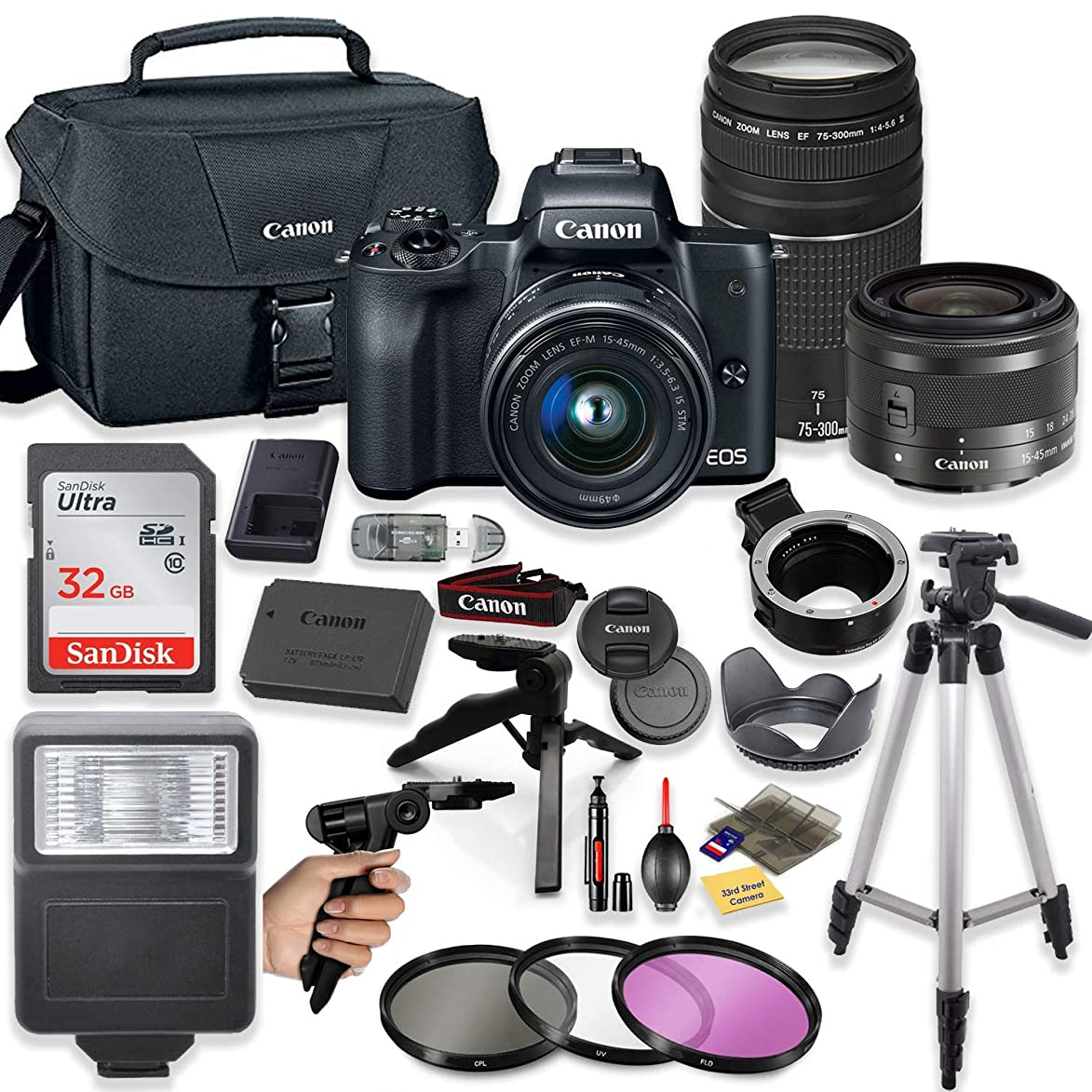 Canon EOS M50 Mirrorless Digital Camera (Black) with EF-M 15-45mm Lens & EF 75-300mm Lens + Pro Lens Mount Auto Adapter - EOS (EF/EF-S to EF-M Mount) + Deluxe Accessory Bundle