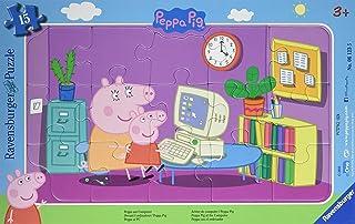 Ravensburger - 06123 - Puzzle - En Frente de la computadora Peppa Pig - 15 Habitaciones