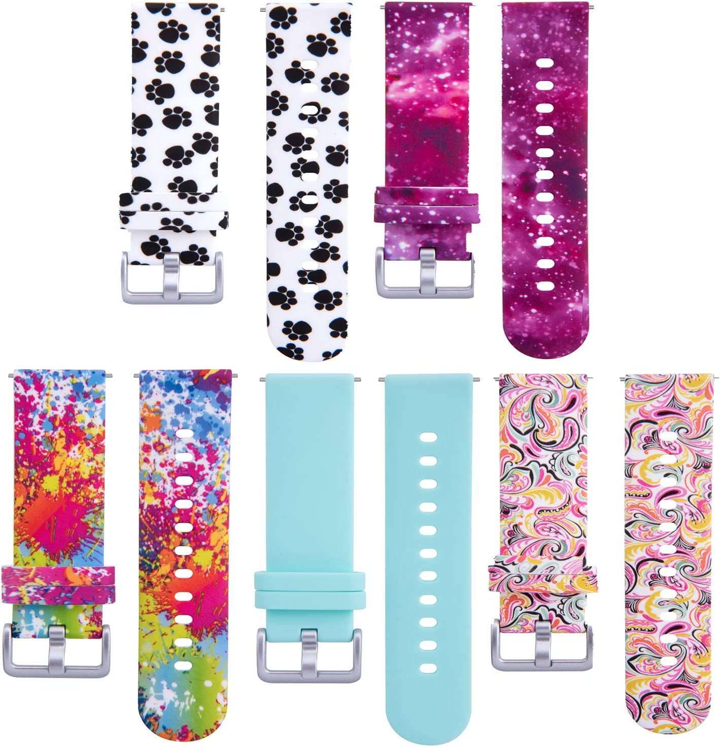 Chofit 5 Pack Bands Compatible with Verizon Gizmo Watch Bands for Kids, 20MM Band Replacement Quick Release Colorful Pattern Wristband Straps for Verizon Gizmo Watch 2 Smartwatch (Multicolor)