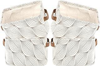 LessMo Set de 4 Mini Paniers de Rangement, Boîte de Rangement Pratique Tiroir en Tissu Lin Panier Stockage de Bureau Pliab...