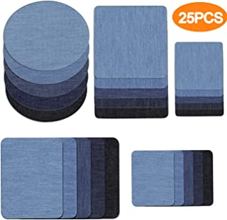 TinaWood 25PCS Jeans Cloth Sticker for Clothing Jacket Patch Iron On Denim Patch for Clothing Adhesive Sweater Shirt Elbow Stickers Multi Color