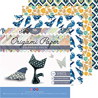 MozArt Supplies Origami Paper Set - 120 Sheets - Traditional Japanese Folding Papers including Floral, Animal Prints, Aztec, Geometric - Origami Papers for Kids & Adults