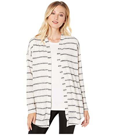 B Collection by Bobeau Cecile Tie Front Cardigan (Oatmeal/Black) Women