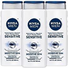 NIVEA Men Sensitive 3 in 1 Body Wash - دوش، شامپو و تازه کردن، صابون و بدون رنگ برای پوست حساس - 16.9 فنجان. اوز (بسته 3)
