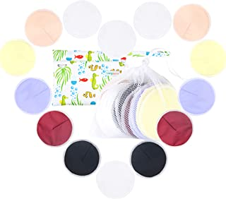 Langsprit Leak-Proof Reusable Bamboo Nursing Pads(14 Pack),Super Absorbent Washable Breast Pads with 2 Bonus Free Laundry Bag & Storage Bag(Contoured)