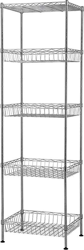 Muscle Rack WB181460 5 Tier Wire Shelving Unit With Baskets 60 Height 18 Width 14 Length