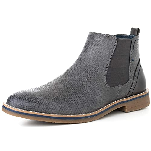 01e86a198b58 alpine swiss Mens Nash Chelsea Boots Snakeskin Ankle Boot Genuine Leather  Lined Gry 8 M US