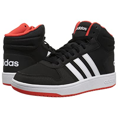 adidas Kids Hoops Mid 2 (Little Kid/Big Kid) (Black/White/Hi-Res Red) Kids Shoes
