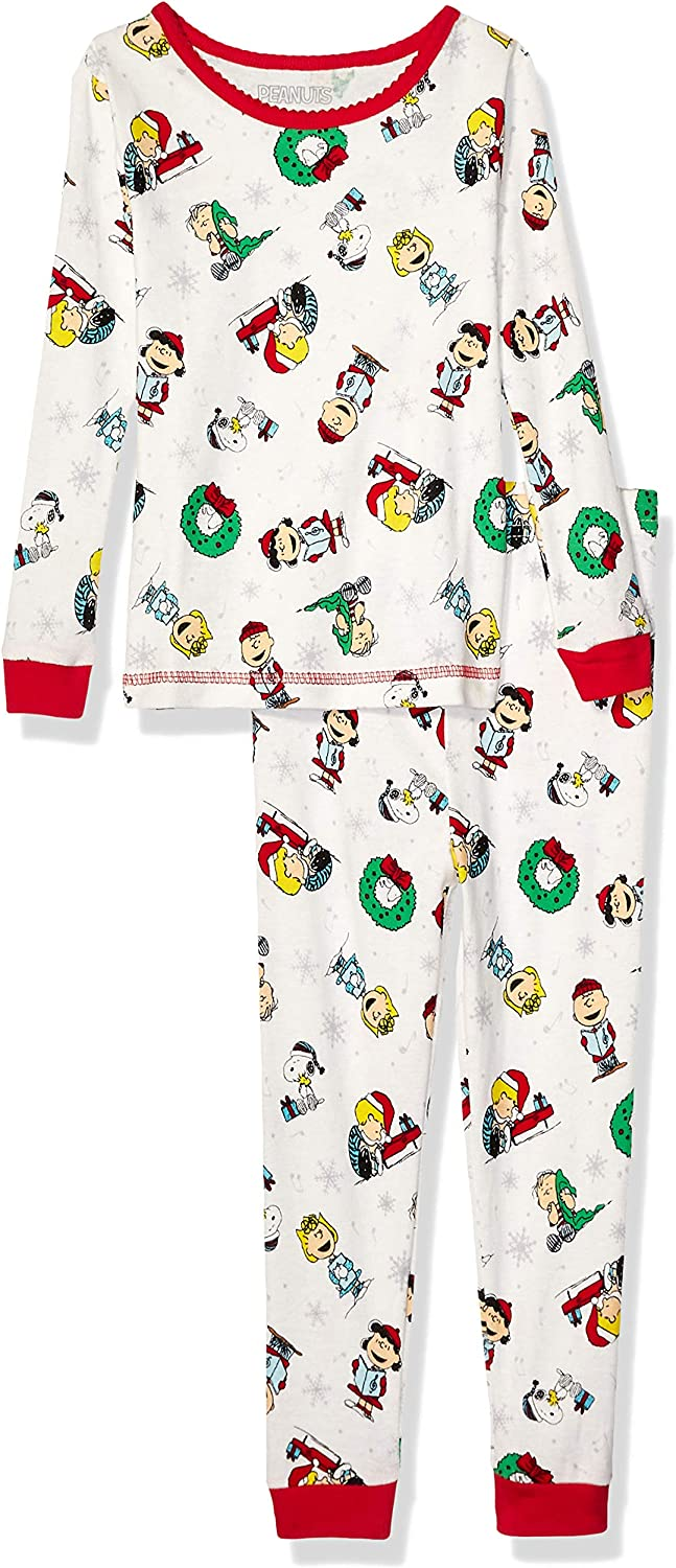 Peanuts Girls' Toddler Holiday 2 Piece Cotton Tight Fit Set