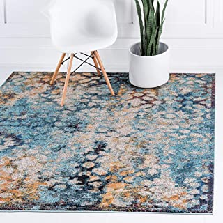 Unique Loom Vita Collection Traditional Over-Dyed Vintage Blue Square Rug (6' 0 x 6' 0)