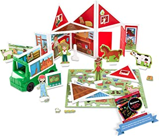 Melissa & Doug On The Farm with Tractor Vehicle: Mag-netivity Building Play Set Bundle with 1 Theme Compatible M&D Scra...